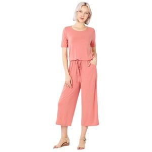 Pink Capri jumpsuit